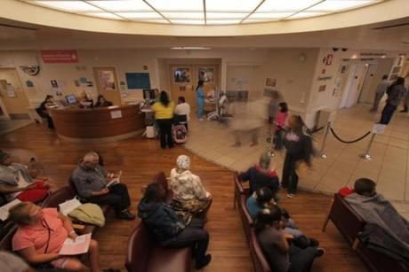 The busy waiting room at Highland Hospital in Oakland, Calif., in the documentary by Peter Nicks.